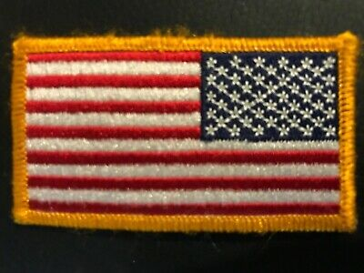 """REVERSE USA AMERICAN FLAG EMBROIDERED PATCH IRON ON SEW-ON GOLD BORDER(3½ x 2¼"""")"""