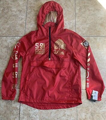 28dfc6238 Southpole Men's Anorak Colorblock Water Resistance Hooded Pullover, Red Sz M