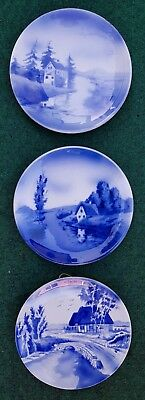 """3X Delft Style Blue White German Platters Plates Wall Chargers Vintage  7.08"""""""