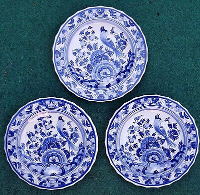 3X Delft Blue White Plates Wall Chargers Flowers Bird Vintage Antique 7.67""