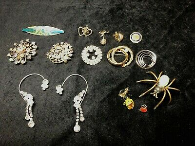 1ff7a741d60 Vintage Women's Jewelry Unique Brooches, Pins, Around the Ear earrings,Lot  of 16