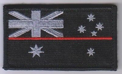 Thin Red Line Patch, Fire Brigade, Black, Hook Rear Patch, 1 x Item
