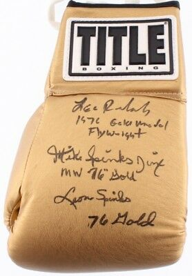 Title Boxing Glove Signed By Leo Randolph, Michael Spinks, & Leon Spinks