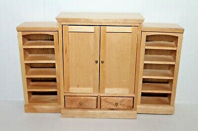 Dollhouse Wood Entertainment Center TV Cabinet with 2 Bookcases for Living Room