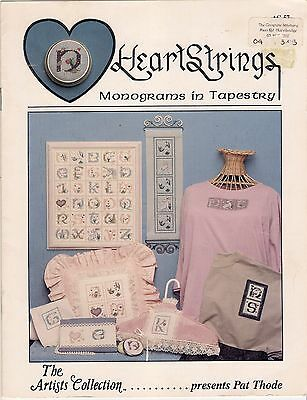 Embroidery Pattern Alphabet Samplers, Monograms in Tapestry, Heart Strings