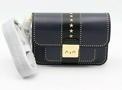 1ea95a7addc0 NWT MICHAEL Michael Kors Sloan Editor Studded Stars Blue Leather Shoulder  Bag
