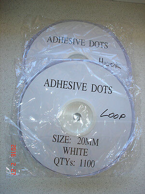WHITE 20mm x 1100 Pair DOTS HOOK and LOOP Fasteners