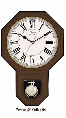 Acctim Wooden Roman Numerals Pendulum Wall Clock Dark Wood 28316 New Original