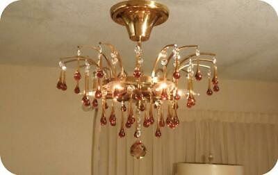 Vtg Gold Brass Murano Prisms Petite Semi Flush Chandelier