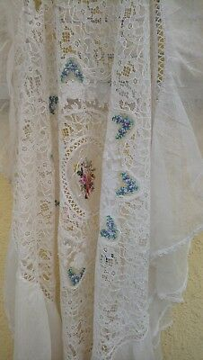 Antique Tulle Lace And Tipoen Gobelin With Small Flaws,french Tablecloth 1840