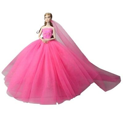 New Barbie doll clothes outfit princess wedding gown dress pink shoes veil
