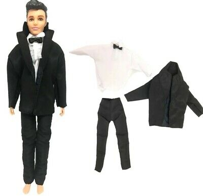 ken doll barbie clothes outfit uniform suit bow tie black wedding