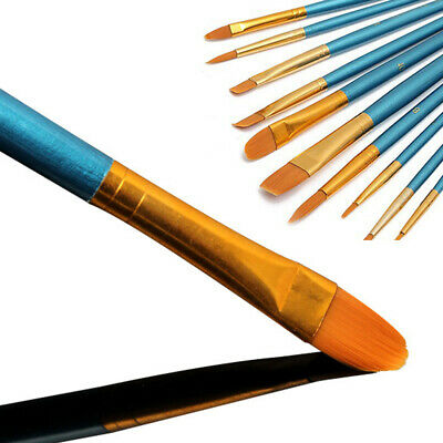 10PC/Set Artist Oil/Watercolor Paint Brush Crafts Art Painting Flat Pointed Tip