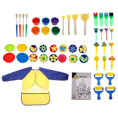 50x Kids Paint Brush Sponge Painting Brush Tool Set for Children Toddler Toy