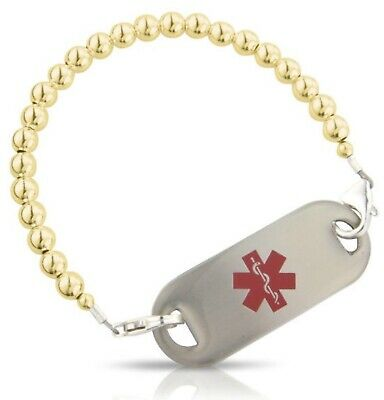 Golden Balls Handmade Medical ID Alert Bracelet diabetes/ allergy