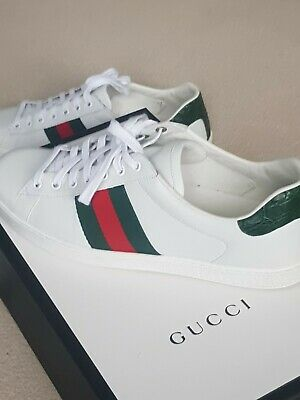 89ac019eeea MENS GUCCI ACE Sneakers Trainers Uk 9 White Green Navy Red Ankle ...