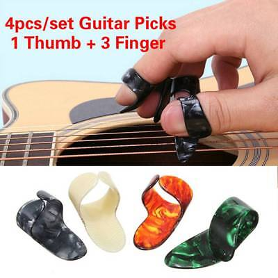 4Pcs/set Plastic Guitar Picks Rings 1 Thumb Pick + 3 Finger Nail Guitar Picks