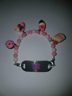Childs Sweetie Pie Handmade Medical ID Alert Bracelet allergy/ asthma/ peanut
