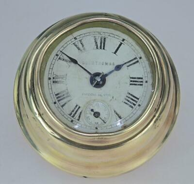 Vintage Seth Thomas Ships bulkhead clock brass cased c1900 Working