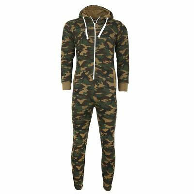 Kids Unisex Army Camouflage Hooded All In One Zip Up Fleece Jumpsuit Playsuit