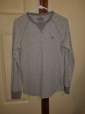 3c1efad8 American Eagle Outfitters Heritage Line Mens Thermal Henley Shirt Small S  Gray