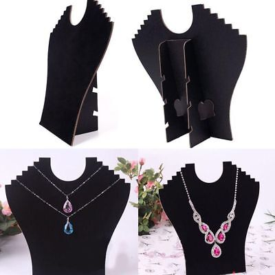 Jewelry Necklace Bust Pendant Stands Neck Velvet Easel Chain Display Holder