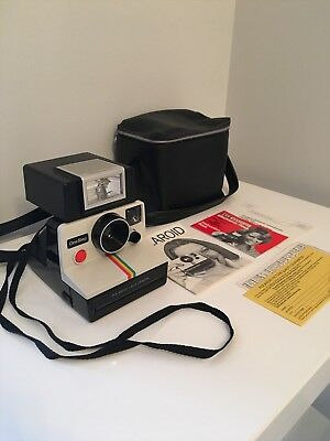 Vintage One Step SX-70 Rainbow POLAROID Land Camera Bag Flash Strap Instructions