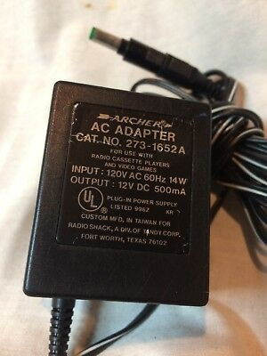 ARCHER AC ADAPTER 273-1652A FOR RADIO CASSETTE PLAYER & VIDEO GAMES Tested
