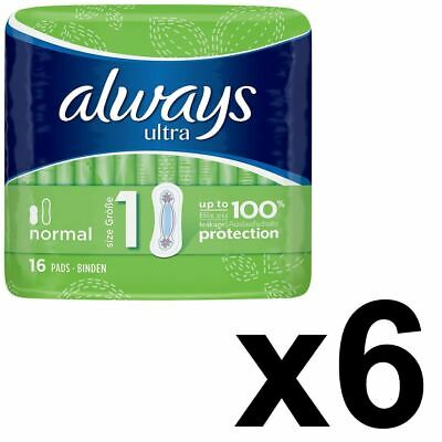 Always Ultra Normal Sanitary Towels Pads Size 1 Women Super Absorbent Pack of 96