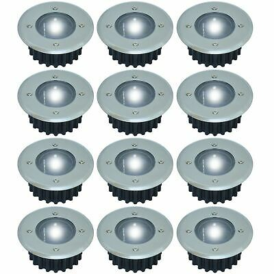 12 x Stainless Steel Solar Powered LED Outdoor Garden Decking Deck Path Lights