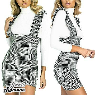 Ladies Check Dogtooth Frill Womens Ruffle Pinafore Jumpsuit Bodycon Party Dress Buy One Give One Damenmode Kleider