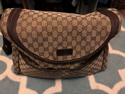 c048b18e8fd GUCCI Baby Diaper Bag - Basic GG Monogram Baby Bag - Canvas with Leather  Trim