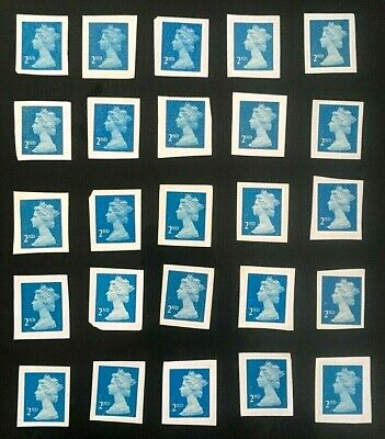 25 Blue 2nd Class Stamps Unfranked On Paper- Best Quality - Signed for postage.