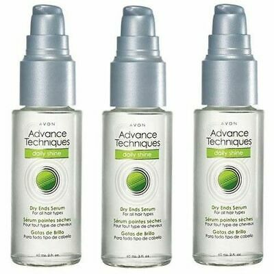 3x AVON Advance Techniques Daily Shine DRY ENDS SERUM 2OZ UNISEX, ALL HAIR TYPE
