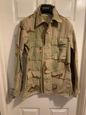 d03c22d57a6 Army Surplus Overshirt Jacket In Desert Camoflage Raw Bottom Hem Size Small  Long