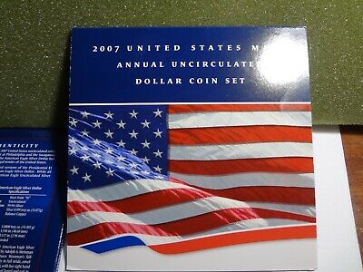 2007 US Mint Annual Uncirculated Dollar Coin 6 COIN Set  has 2007-W Silver Eagle
