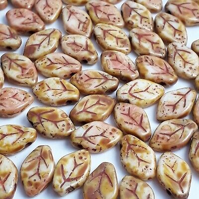 20 CRYSTAL COPPER Czech glass leaves beads 12x7mm 27101