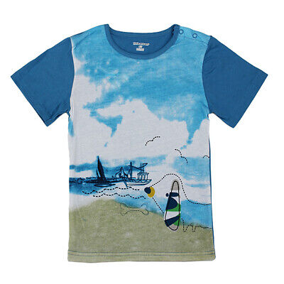 2015 New Little Maven Blue Sky Sea Baby Children Boy Cotton Short Sleeve
