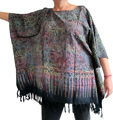 Ladies BLACK/ PURPLE BATIK PRINT Kaftan Poncho Tunic beach large plus size new