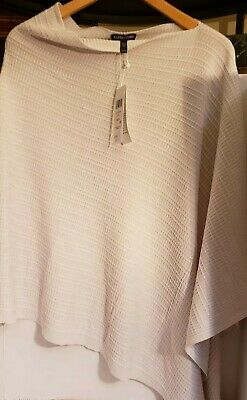 bf22a8dfe72 Eileen FISHER Silk Organic Cotton Knit Bone White Poncho Cover up One size