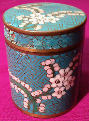 Chinese Vintage Cloisonne Cigarette Box Round Turquoise Flowers Beautiful Rare