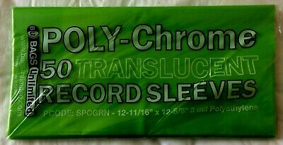 """50 Green Poly-Chrome Outer Sleeves 3 Mil 12"""" Record LP Album Cover 33 RPM Vinyl"""