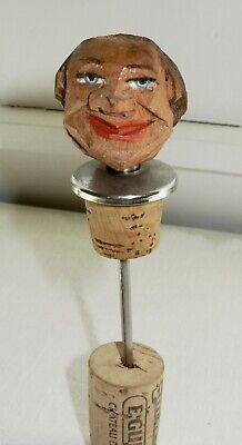 Vintage Hand Carved Painted Wooden Head Bottle Stopper  Italian or German made