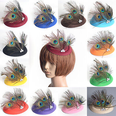 Lady Pillbox Hat Fascinator Hair Clip Peacock Feathers Crystal Accessory Wedding