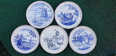 "5 X Delft Blue White Plates Dutch Scene Holland Belgium Vintage 6.5"" Diameter"