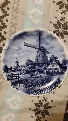 "Vintage Large 11""Porcelain Dutch Blue Delft Wall Plate Charger Windmill"
