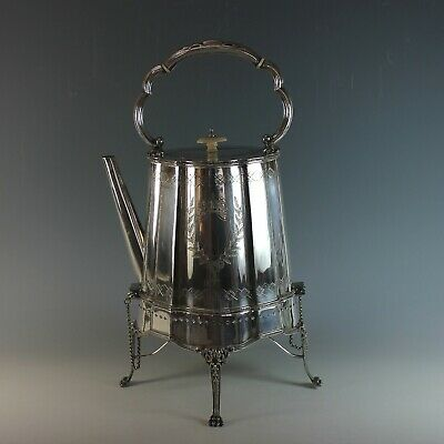 Aesthetic Movement Silver Plate Water Samovar Coffee Pot with Stand
