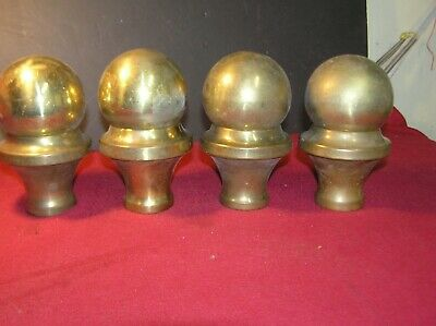 """4 Brass Bed Cannonball Caps to fit Over 2"""" Tubing"""