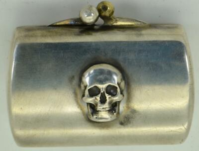 Victorian Memento Mori  Skulls 800 silver poison/pill box in form of a purse