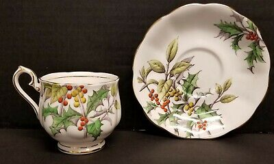 Royal Albert England Bone China Tea Cup & Saucer Flower of the Month Holly #12